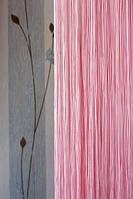 Нитяные шторы однотонные простые розовые