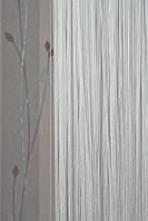 Нитяные шторы однотонные простые серо-голубые