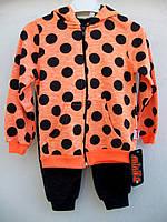 Спортивный детский костюм для девочки в горошек, размеры 98-116
