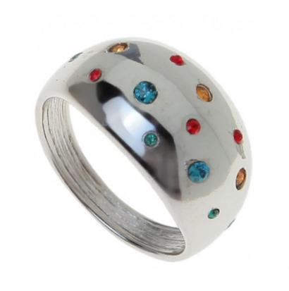 "Кольцо ""Монпасье"" с кристаллами Swarovski, покрытое родием (b251f070)"
