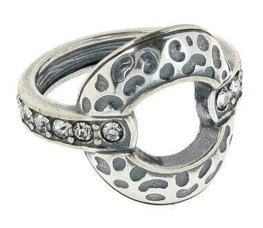 """Кольцо """"Ортан"""" с кристаллами Swarovski, покрытое серебром (h7053000)"""