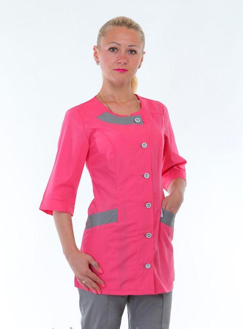 """Медицинский женский костюм ( серый с алым ) К-2266 - Интернет-магазин одежды """"Ledi-Milena"""" в Хмельницком"""