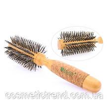 Щетка-брашинг для волос круглая непродувная деревянная с натуральной щетиной Salon Professional 27431BMi