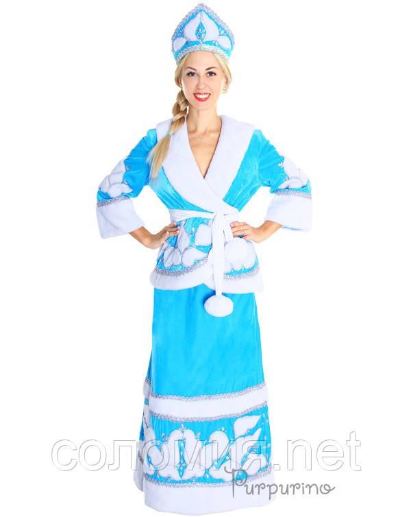 Женский карнавальный костюм Снегурочка с бубонами