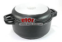Кастрюля алюминиевая 2л с антипригарным покрытием и крышкой-сковородой БИОЛ K202P