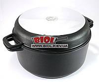 Кастрюля алюминиевая 7л с антипригарным покрытием и крышкой-сковородой БИОЛ К702П, фото 1