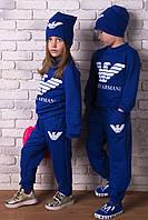 """Стильный комплект """"Аrmani"""" с шапкой. Синий, 3 цвета."""