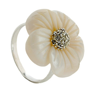 """Кольцо """"Ассамбле"""" с перламутром, покрытое серебром (e19010p0)"""