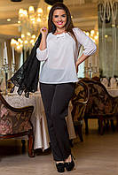 Костюм тройка женский деловой брюки блуза и пиджак макраме