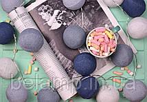 """Тайская гирлянда из хлопковых шариков """"Оттенки серого"""" на батарейках"""