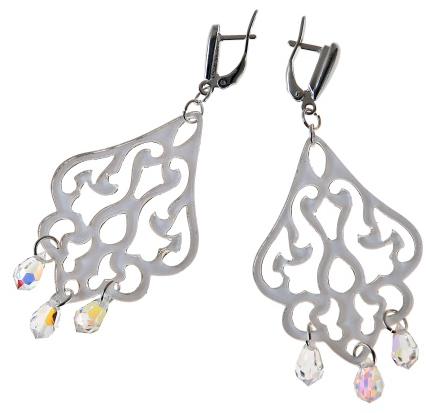 """Серьги """"Акселла"""" с кристаллами Swarovski, покрытые серебром (i4851100)"""