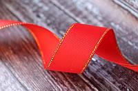 Лента репсовая с люрексом 2.5 см красного цвета с золотом, фото 1
