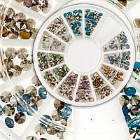 Конусные камни для дизайна ногтей в карусели, разные цвета