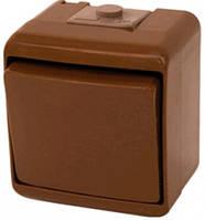 Выключатель 1-клавишный (коричневый) (IP54) VHE-1-KR, 4668040