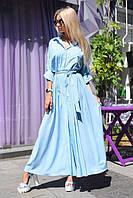 Платье женское длинное из шелка под пояс P7186