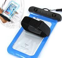 Универсальный водонепроницаемый голубой чехол с ремешком на руку для телефонов до 6.5дюймов