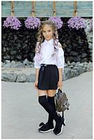 Юбка-шорты для девочки в школу (черный),р.10-13 лет