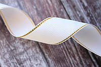 Лента репсовая с люрексом 2.5 см белого цвета с золотом, фото 1