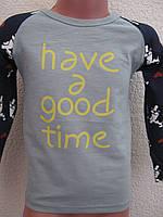"""Реглан сірий """"have good time"""" для дівчинки (4-5 років)"""