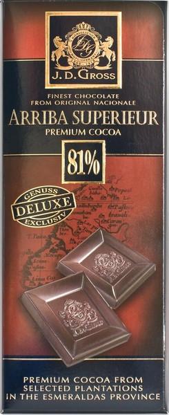 Горький классический шоколад J.D. Gross Arriba Superieur 81%, 125 гр