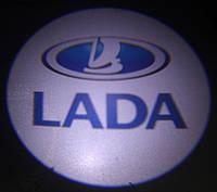 Подсветка дверей врезная с логотипом Лада
