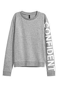 Женский свитшот серый H&M разм. XS