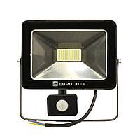 Прожектор светодиодный LED с датчиком движения 30Вт IP65 6400K ЕвроСвет EV-30-01 (15105207)