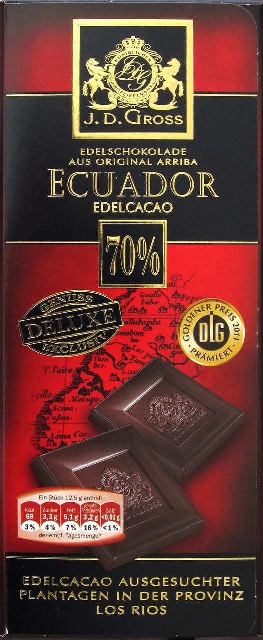 Горький классический шоколад J.D. Gross Ecuador 70%, 125 гр.