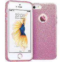 """Силиконовый чехол с блестками """"Dazzling shine"""" фиолетовый для iPhone 5/5S/SE"""
