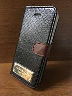 """Кожаный чехол-книжка """"Michael Kors"""" черный для iPhone 5/5S/SE"""