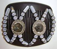 Заколка для волос Африканская бабочка Wonder Stone на основе 2-х гребней  с натуральными камнями