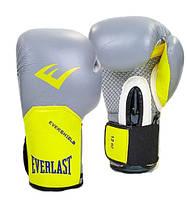 Перчатки боксерские кожаные EVERLAST PRO STYLE ELITE 10 oz серый-желтый