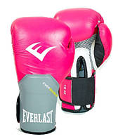 Перчатки боксерские кожаные EVERLAST PRO STYLE ELITE 10 oz розовый-серый