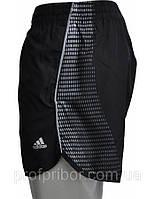Мужские спортивные беговые шорты Adidas из плащевки с подкладкой-трусами, одежда фото V-M-SH-09