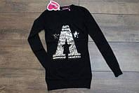 Вязанная туника-платье с паетками для девочек  4-6-8-10  лет Цвет черный