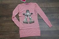 Вязанная туника-платье с паетками для девочек 4-6-8 ,14  лет Цвет розовый