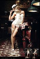 Чулки в мелкую сетку с утонченным орнаментом Champagne Filigree Net Stockings