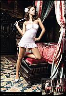 Красивый пеньюар-платье без брителей Pink Strapless Ribbon Mini Dress
