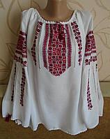 Жіноча сорочка-вишивака з довгим рукавом  на білому домотканому полотні ручна робота розмір 50