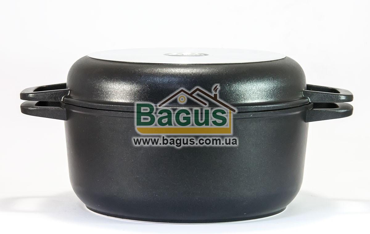 Кастрюля 3л 22см с антипригарным покрытием и крышкой-сковородкой Биол (K302P)