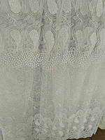 Тюль фатин вышивка Белый узор, фото 1