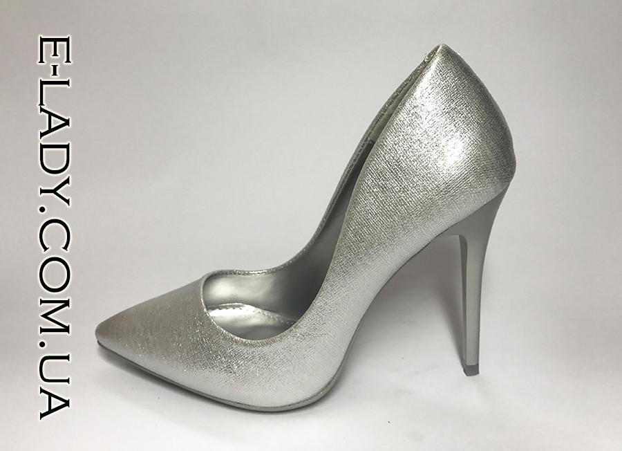 944784c99076 Серебристые стильные туфли лодочки на шпильке