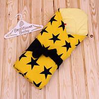"""Зимний конверт-одеяло на выписку из роддома """"Star"""", желтый"""