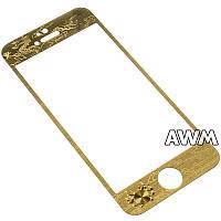 Защитное стекло iPhone 5s 3D метал Дракон (золотой)
