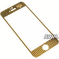 Защитное стекло iPhone 5s 3D метал Тигр (золотой)