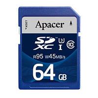 Карта памяти Apacer SDXC 64GB Class 10 UHS-I (R95, W45MB/s)