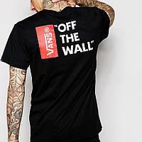 Футболка Vans мужская | Бирки на живых фото | Черная Off The Wall