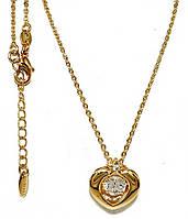 Цепочка с кулоном фирмы Xuping, цвет:позолота. Камни: белый циркон. Длина цепочки: 45 см. Диаметр кулона:15 мм