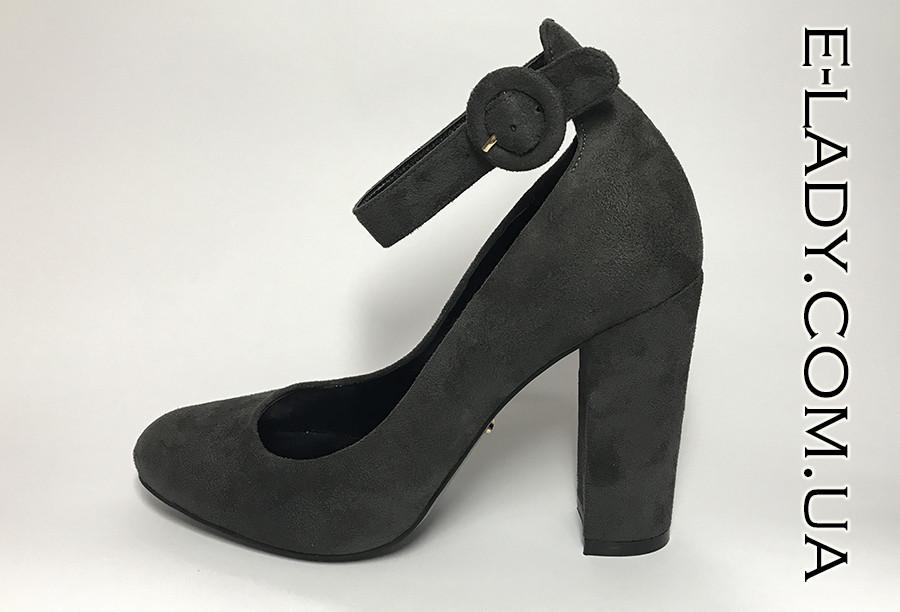 8cf754b23431 Серые замшевые туфли на устойчивом каблуке - Интернет-магазин стильной  женской обуви и сумок в