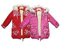Пальто детское зимнее на овчине для девочки Рукавичка